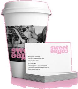 Rosa kopp med Sweet Coffees varumärke