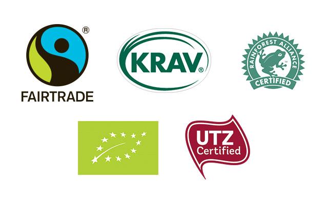 Miljöcertifierad kaffe logotyper